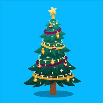 フラットなデザインのイラストクリスマスツリー