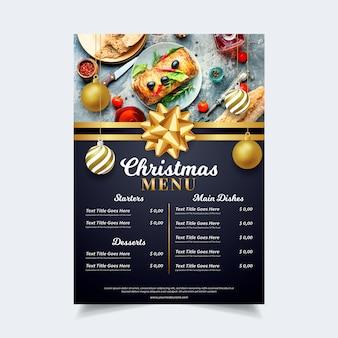 Шаблон меню рождество с изображением