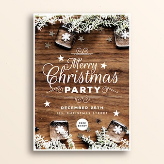Шаблон плаката рождественской вечеринки с изображением