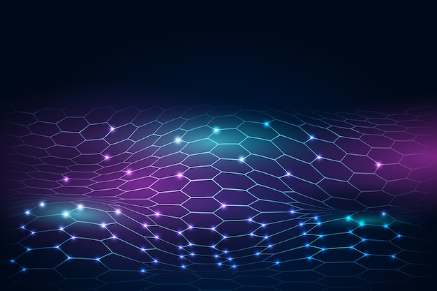 Гексагональная сеть фон футуристический дизайн