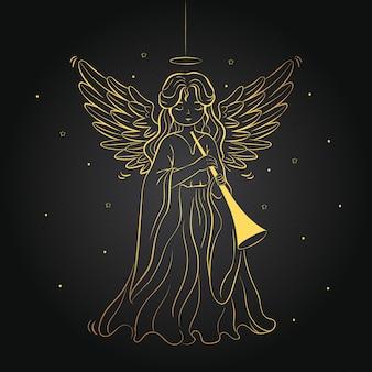 Концепция золотой рождественский ангел