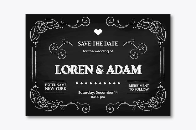 黒板にビンテージのウェディング招待状のテンプレート