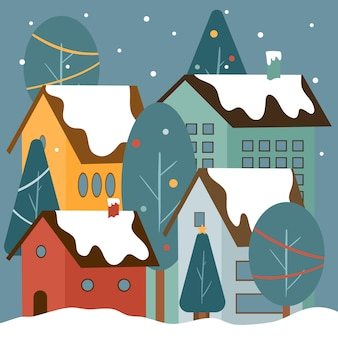 Рождественская концепция города в рисованной