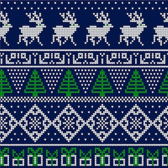 Красивый вязаный рождественский узор