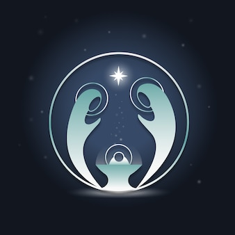 抽象的なキリスト降誕のシーン