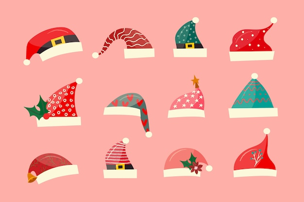 Коллекция рисованной шляпы санта-клауса