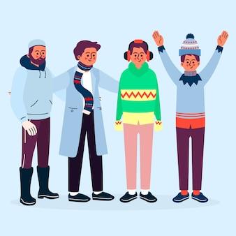 Население в зимней одежде