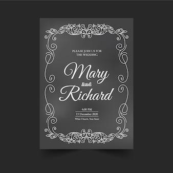 黒板テンプレートにレトロな結婚式の招待状