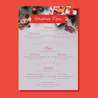 Шаблон меню рождество с фото