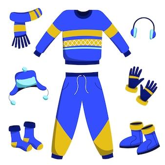 Зимняя одежда и предметы первой необходимости в плоском дизайне