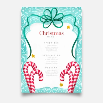 水彩クリスマスメニューテンプレート