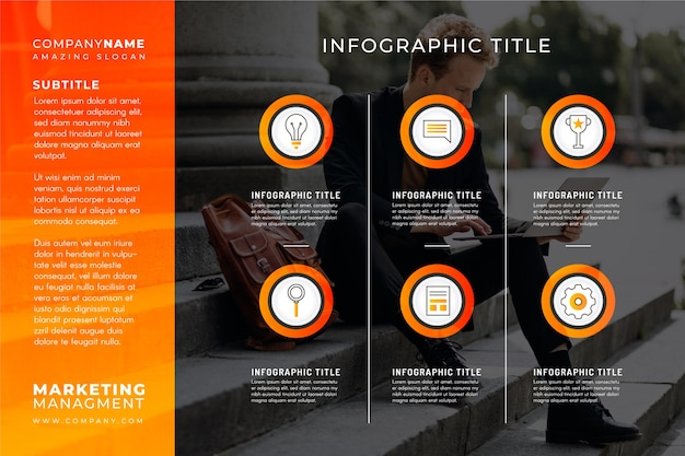 写真テンプレートとビジネスインフォグラフィック