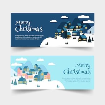 Рождественские городские баннеры в плоском дизайне