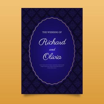 青のエレガントなダマスク織の結婚式の招待状のテンプレート