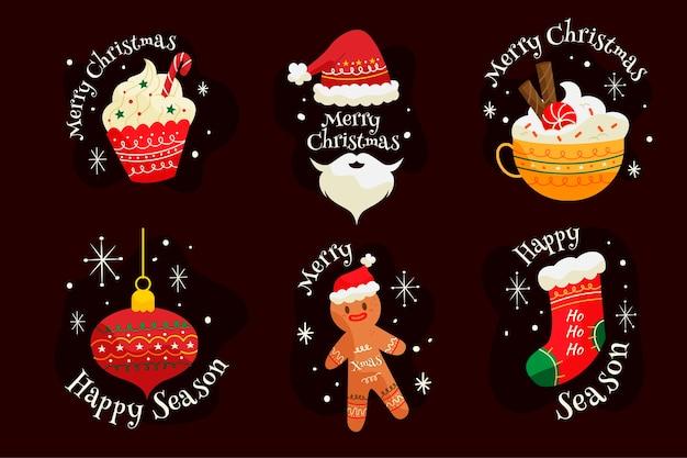 手描きクリスマスラベルコレクション