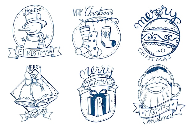 Коллекция рисованной рождественский знак