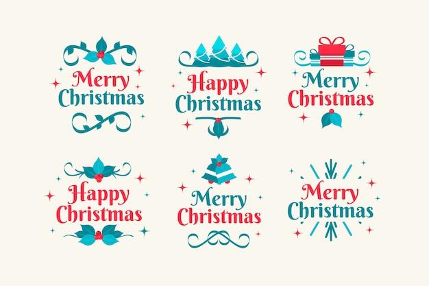 Коллекция рождественского значка в плоском дизайне