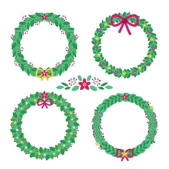 クリスマスの花&フラットなデザインで花輪のコレクション