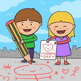 手描きの子供の日
