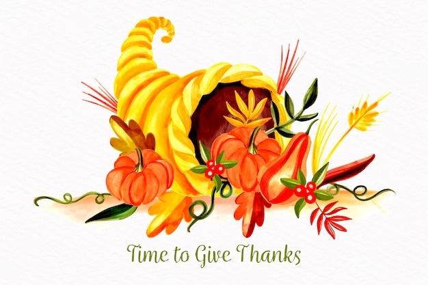 Концепция благодарения в акварели
