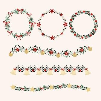 Плоский дизайн коллекции рождественский венок
