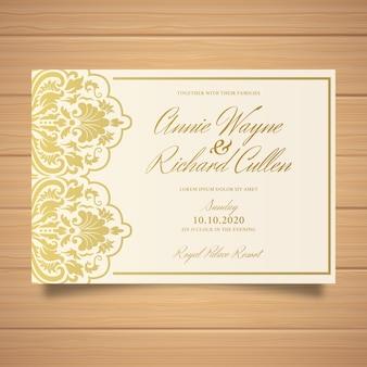 美しいエレガントなダマスク織結婚式招待状のテンプレート