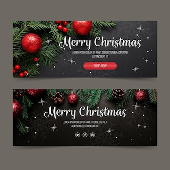 Рождественские баннеры шаблон с фото