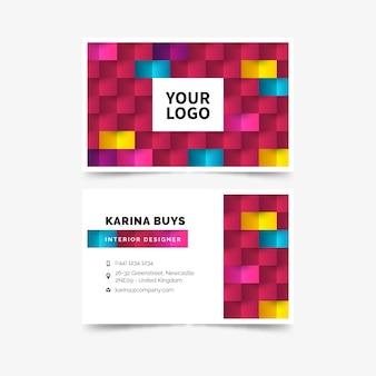Бизнес визитная карточка шаблон абстрактный красочный