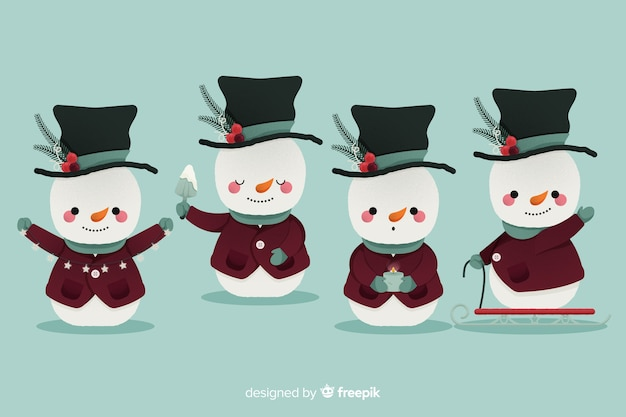 フラットなデザインの雪だるまキャラクターコレクション