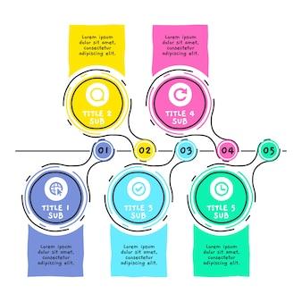 Хронология инфографики рисованной шаблон