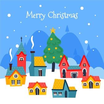 Ручной обращается рождественский город фон
