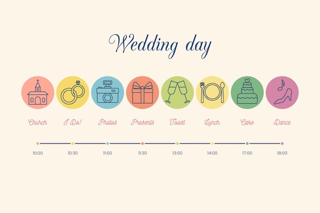 Красочные свадебные сроки в линейном стиле