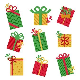 Плоский дизайн коллекции рождественских подарков
