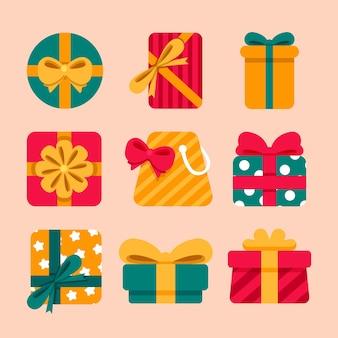 フラットなデザインのクリスマスギフトコレクション
