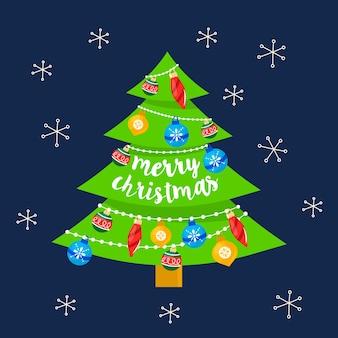 フラットなデザインのクリスマスツリーのコンセプト