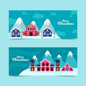 フラットなデザインのクリスマスタウンのバナーテンプレート
