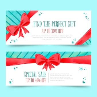 Акварельные рождественские продажи баннеров шаблон
