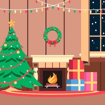 フラットクリスマスデコレーション