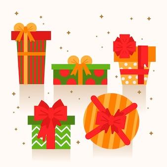 Плоская коллекция рождественских подарков