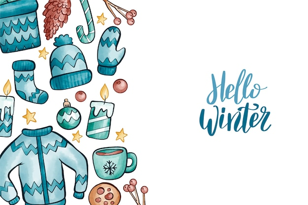 冬の服と要素の背景