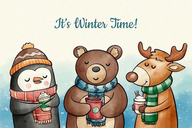 Симпатичные зимние животные фон