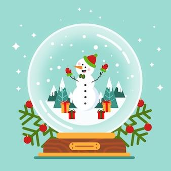 Плоский новогодний снежный шар