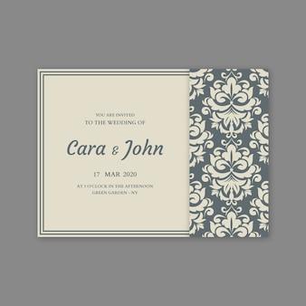 テンプレートエレガントなダマスク織の結婚式の招待状