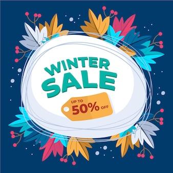 Ручной обращается зимняя распродажа баннер концепция