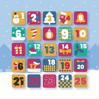 フラットなデザインのカラフルなアドベントカレンダー