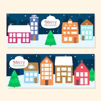Ручной обращается рождественские городские баннеры