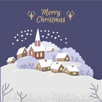 手描きのクリスマスタウンコンセプト