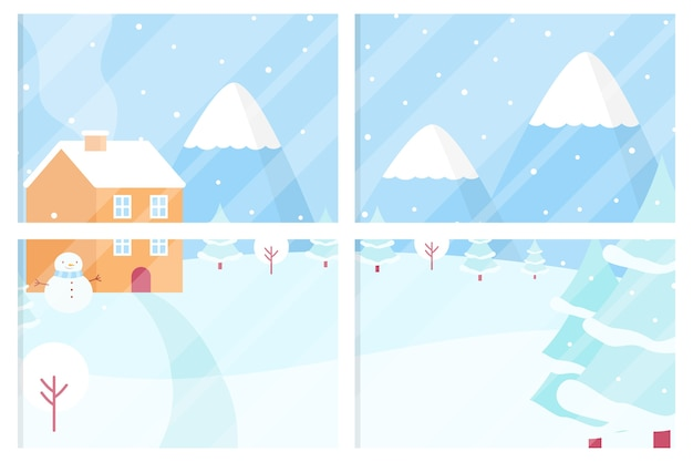 Зимняя концепция в плоском дизайне