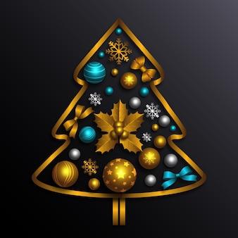 現実的な金色の装飾で作られたクリスマスツリー