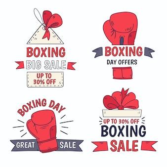 手描きのボクシングデーセールバッジコレクション